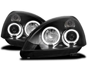 Super Bright LED Angel Eyes headlight set in black for Renault Clio 2 II 01-05