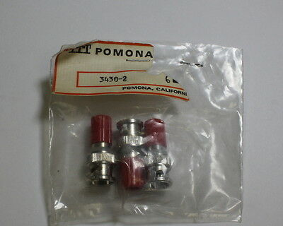 Lot Of Two Red Pomona Bnc Male With Binding Post 3430-2