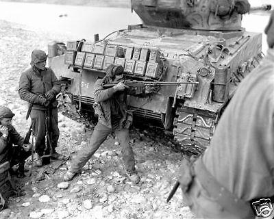 B&W Photo Korean War 5RCT Han River Browning BAR 1951 Korea UN US Army