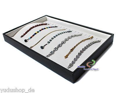 Vorlagebrett Schaukasten für Ketten mit 20 Haken schwarz / creme