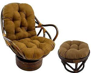 Classic Rattan King Swivel Chairs (2) & Ottomans&Magazine Rack