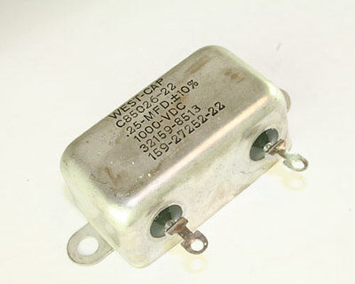 New .25uf 1000vdc Paper In Oil Hermetically Sealed Capacitor 0.25mfd 1000v