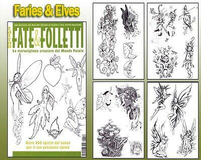 FAIRIES & ELVES Tattoo Flash Design Book 66-Pages Cursive Writing Art Supply - Cheap Elves