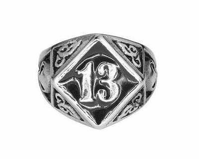 Solid Inside Biker Stainless Steel Lucky 13 Ring HEAVY METAL JEWELRY USA SELLER!