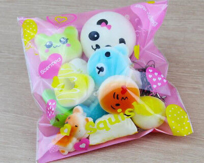 10Pcs Jumbo Medium Mini Random Squishy Soft Panda/Bread/Cake/Buns Phone Straps