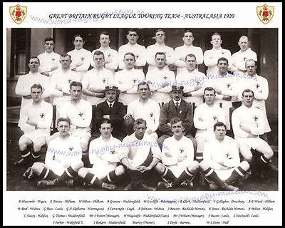 GREAT BRITAIN RUGBY LEAGUE 1920 TOUR TEAM PHOTOGRAPH