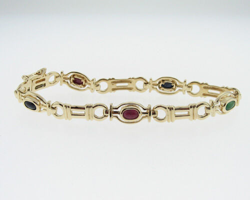 """Natural Emerald Blue Sapphires Ruby Solid 14k Yellow Gold 7"""" Bracelet"""