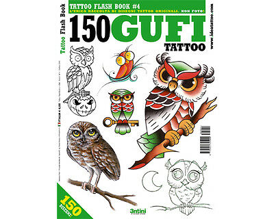 OWL Tattoo Flash Design Book 64-Pages Sketch Birds Owls Black Color Art Supply