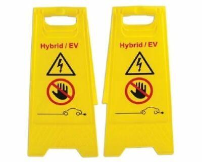 Eléctrico Vehículo Eléctrico Híbrido Suelo Advertencia Peligro Cartel 2pc 600mm