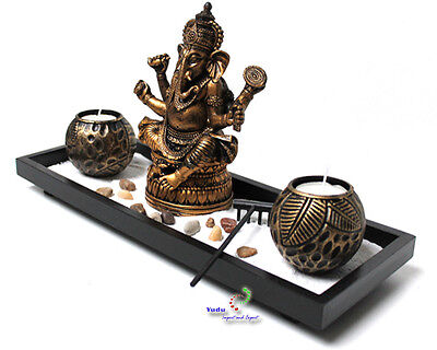 Zen-Garten mit Ganesha Figur und Teelichter Sand Stein Nr:YH071