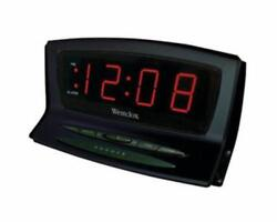 Westclox Black Instant Time Set Auto Daylight Savings Time Alarm Clock 120V AC