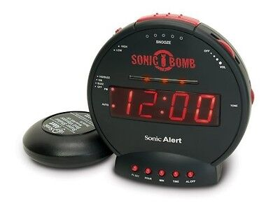 Loud Plus Vibrating Personal Alarm Clock Deep Sleepers Hard of Hearing Time Home