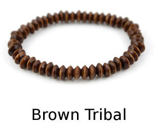 Wooden Bead Bracelet - mens boys beady hippy surfer tribal beach braclet