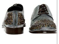 Dolce & Gabbana D&G blue leather studded derby shoe UK 7 RRP £800