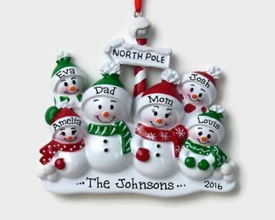 NAME PERSONALIZED ORNAMENT North Pole Snowman Family Couple 2 3 4 5 6 7 8 9 ()
