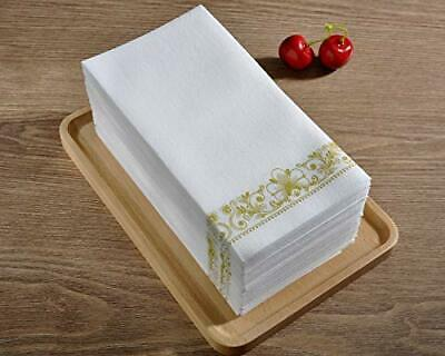 100 pack, 12x16 Inch Gold Napkins & Guest Linen Paper Hand Towels for Bathroom  - Guest Towels 100 Napkins