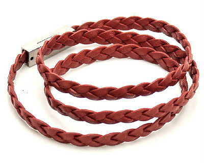 LEATHER WRAP-AROUND BRACELET WITH STAINLESS STEEL MAGNET CLASP