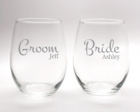 Custom Etched Wine Glasses for his and hers.