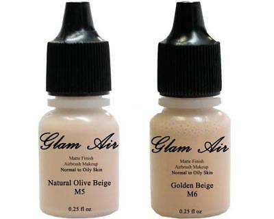(2)Two Glam Air Airbrush Makeup Foundations M5 Natural Olive Beige & M6 Golden B Face