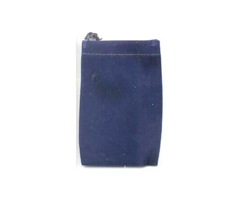 """Set of 12 Small Tiny 2.5"""" x 2"""" Blue Velveteen Drawstring Bags Pouches"""