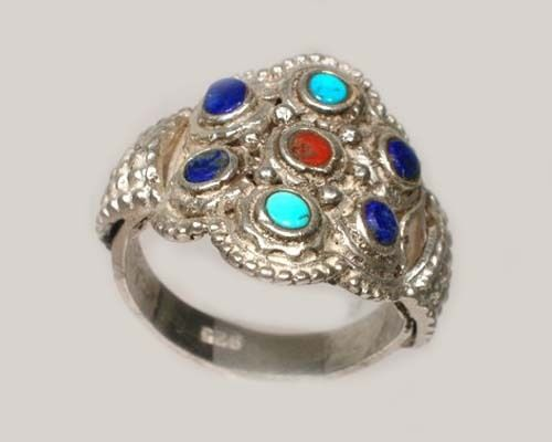 Antique 19thC Macedonian Victorian Intricate Sterling Lapis Gemstone Ring Size11