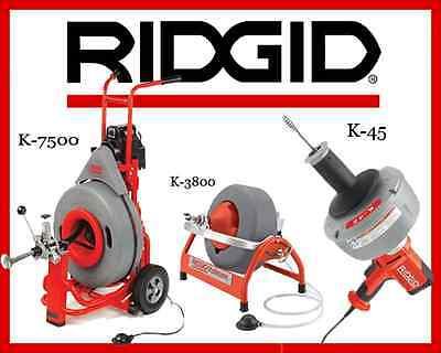 Ridgid K-7500 Drum Machine 60052 K-3800 Machine 53117 K-45-1 Sink Machine 36013