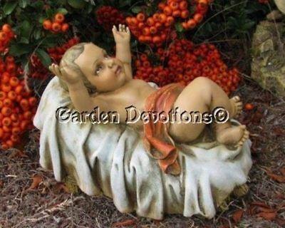 Baby Jesus in Crib Manger Creche Nativity Set Indoor Outdoor Garden Statue 6 in