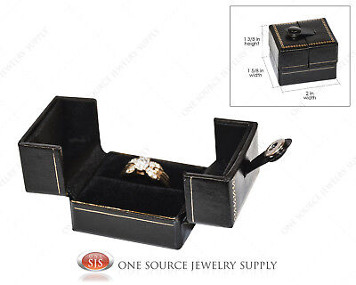 Ring Jewelry Gift Box Snap-Tab Ring Jewelry Gift Box Black Leatherette Gift Box