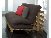"""FUTON COMPANY """"Orlando"""" BROWN Double Futon Sofa Bed + Cover, Hardwood Base, Sofabed, + I CAN DELIVER"""