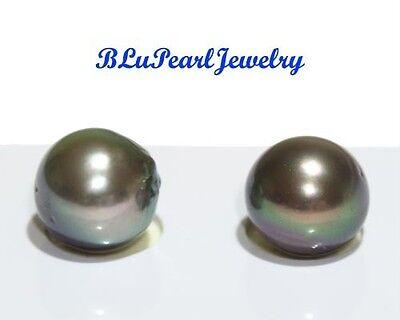 Tahitian South Sea Pearl Semi-round 10 mm 1 Pair for Earrings Pendants Rings NEW