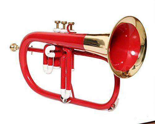 CYBER MONDAY Flugel Horn Red Color 3 Valve Bb Musical Instrument Mouthpiece