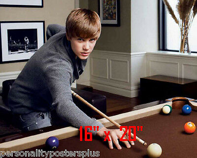 "Justin Bieber~Playing Pool~Billiards~Shooting Pool~Poster~Photo~ 16"" x  20"""