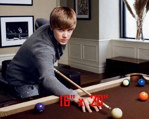 "Justin Bieber~Playing Pool~Billiards~Shooting Pool~Poster~Photo~ 16"" x  20"""