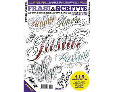 - LETTERING & SCRIPT Tattoo Flash Design Book 66-Pages Cursive Writing Art Supply