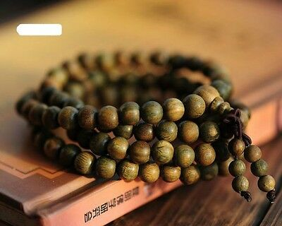 Fragrant Green Sandalwood 108 6MM Buddhist Prayer Bead Mala Necklace/Bracelet
