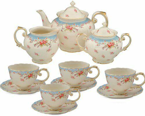 Vintage Blue Rose Porcelain 11-Piece Tea Set, Blue Blue
