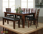 Solid Wood 6 Dining Furniture Sets with Additional Leaves