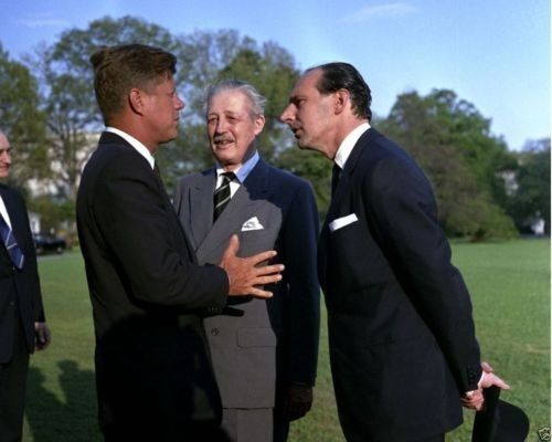 President John Kennedy with British Prime Minister and Ambassador New 8x10 Photo