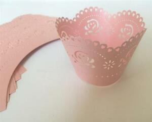 24 x rosa CUPCAKE WRAPPER Verpackung Deko Muffin Hüllen Hochzeit Party W4