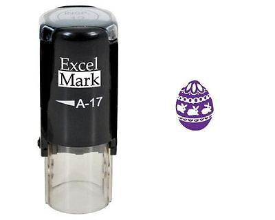 NEW ExcelMark Easter Egg Round Self Inking Rubber Stamp A17 | Purple Ink