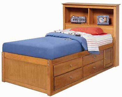 Twin or Full Bookcase Captains Bed Woodworking Plans / Patterns on (Captains Bookcase)