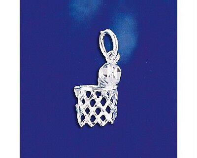 Sterling Silver Basketball Pendant Ball & Net Sport Charm Solid 925 Italy New