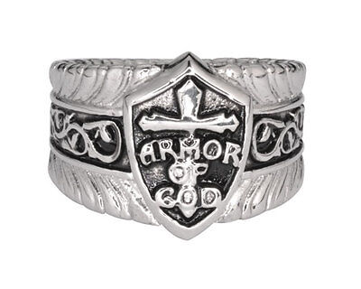 Men's Religious Biker Stainless Steel Armor Of God Jesus Ring USA SELLER! God Mens Ring