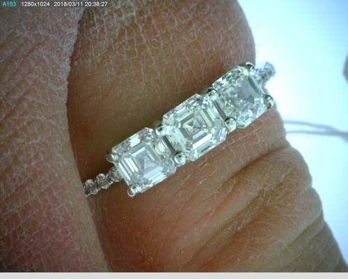 GIA E VS1 2 carat, 3 Asscher cut Diamonds 14k white gold Ring Band #115 4