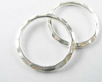 Tribe Silver 25mm (Karen Hill Tribe Silver 2 Circle  Hammered Rings 25mm. )