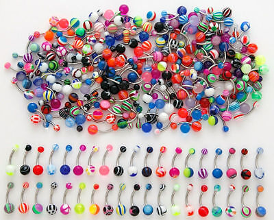 14G MIX ACRYLIC UV BALL BELLY BUTTON NAVEL RING JEWELRY PIERCING WHOLESALE