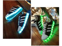 Unisex Men Women USB LED Lights Luminous Shoes Lace Up Casual Sneaker Sportswear