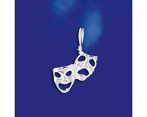Sterling Silver Comedy & Tragedy Masks Pendant Drama Charm Solid 925 Italy New