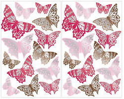 FOIL accented BUTTERFLIES wall stickers 26 big decals pinks & browns room decor