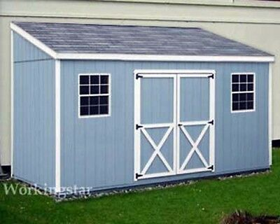 - 4' x 12' Slant / Lean To Style Shed Plans / Building Blueprints & Guides # E0412